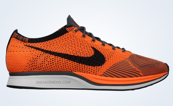 nike flyknit racer total orange white dark grey OG