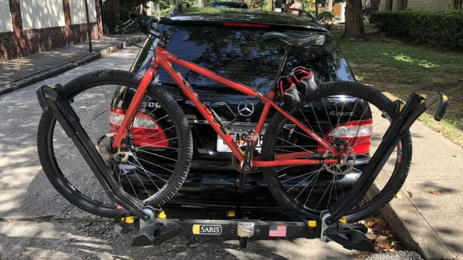 Raleigh XXIX on bike rack on car