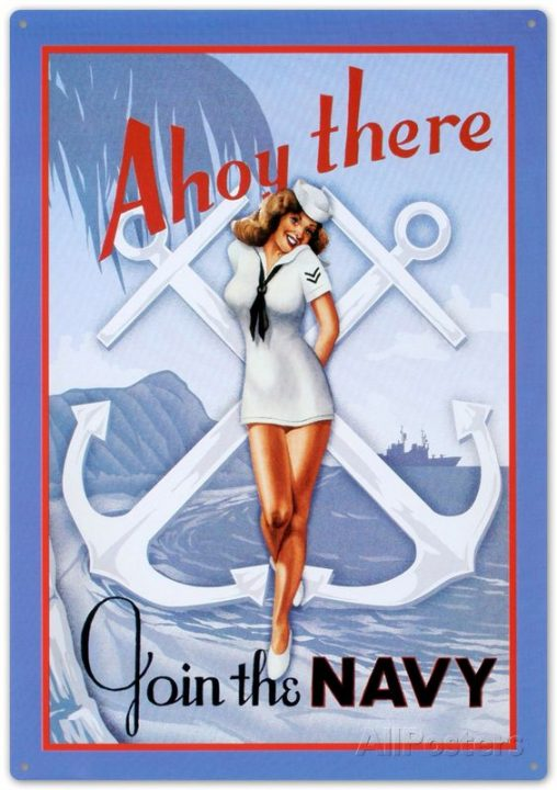 sailor girl pin-up ahoy there ad