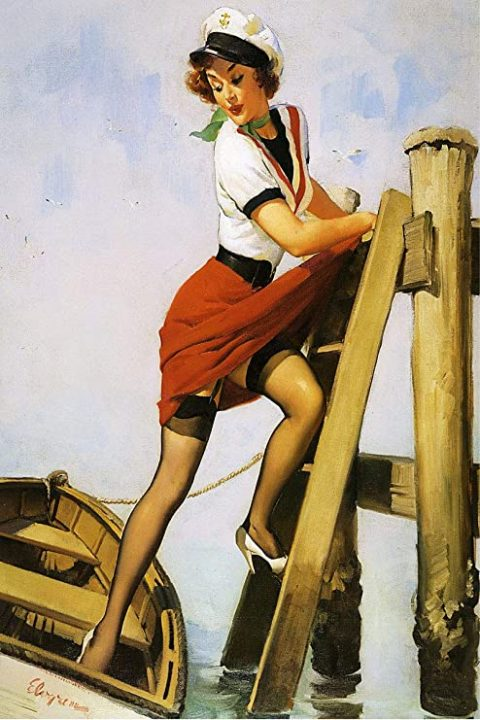 gil elvgren sailor girl pinup on ladder