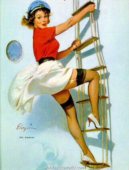 gil elvgren sailor girl pinup on rope ladder