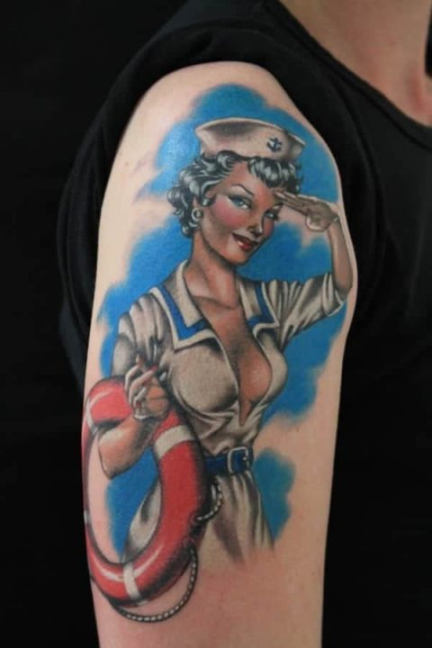 pin up tattoo gil elvgren bicep