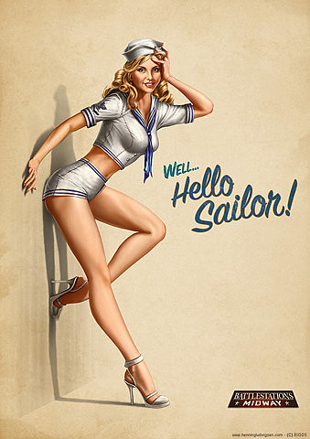 sailor girl leaning on wall pin up post card
