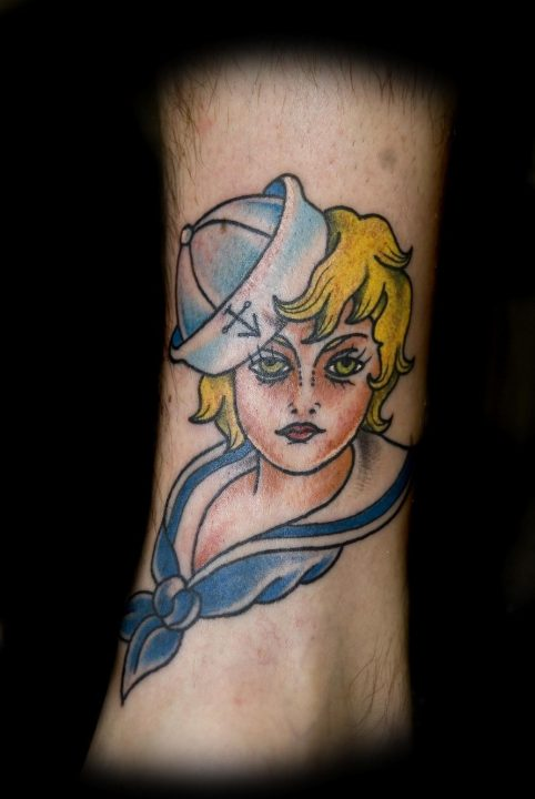 blonde sailor girl traditional tattoo